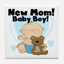 New Mom Baby Boy Tile Coaster