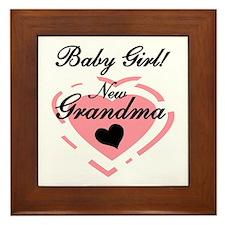 Baby Girl New Grandma Framed Tile
