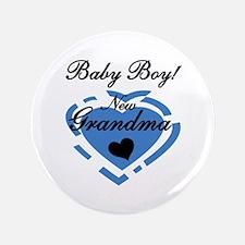 "Baby Boy New Grandma 3.5"" Button"