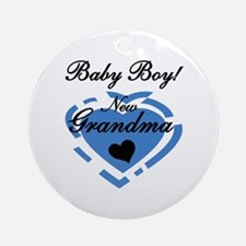 Baby Boy New Grandma Ornament (Round)