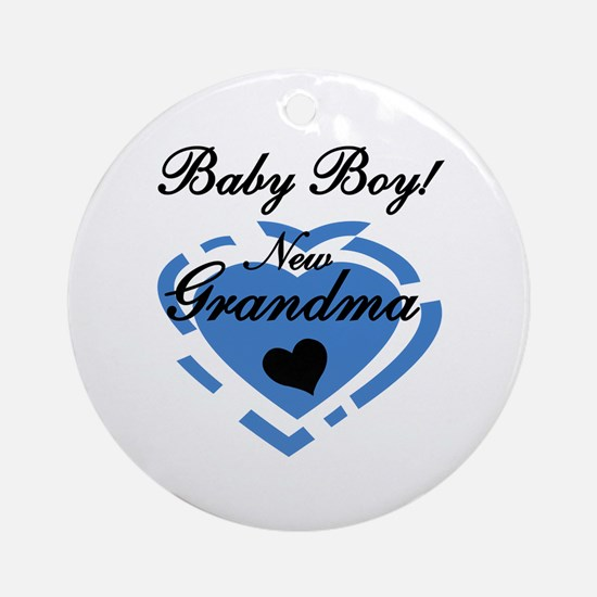 Baby Boy New Grandma Ornament (Round)