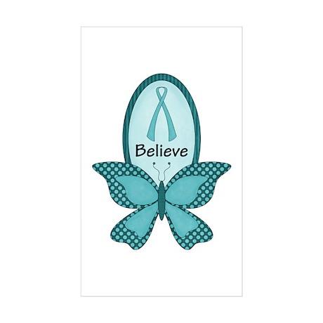 Believe- Teal Awareness Sticker (Rectangle 50 pk)