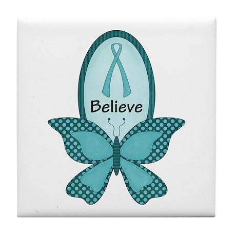 Believe- Teal Awareness Tile Coaster
