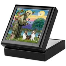 St Francis (W) - 2 Shelties (D&L) Keepsake Box