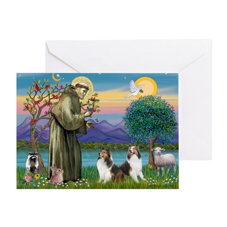 St Francis (W) - 2 Shelties (D&L) Greeting Card