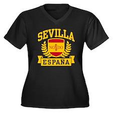 Sevilla Espana Women's Plus Size V-Neck Dark T-Shi