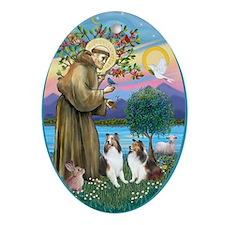 St Francis (W) - 2 Shelties (D&L) Ornament (Oval)