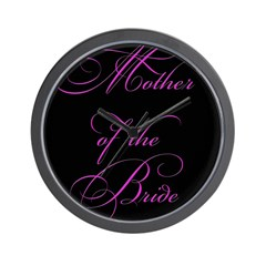 Mother of the Bride - black Wall Clock