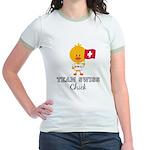 Team Swiss Chick Jr. Ringer T-Shirt
