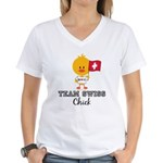 Team Swiss Chick Women's V-Neck T-Shirt