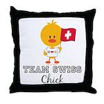 Team Swiss Chick Throw Pillow