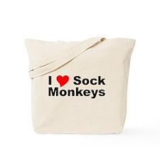 I Love Sock Monkeys Tote Bag