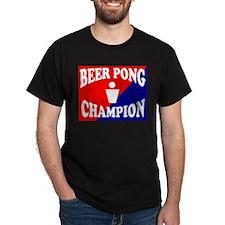 BEER PONG CHAMPION SHIRT FOR  Black T-Shirt