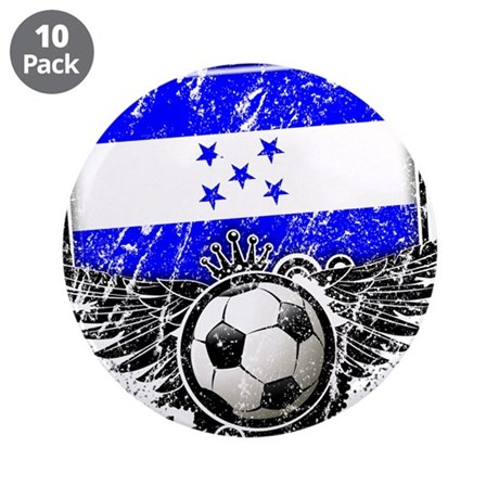 """Soccer Fan Honduras 3.5"""" Button (10 pack)"""