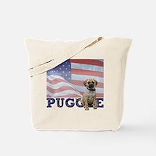 Patriotic Puggle Tote Bag