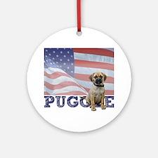 Patriotic Puggle Ornament (Round)