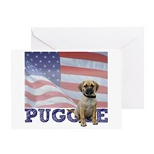 Patriotic Puggle Greeting Card