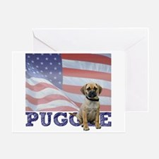 Patriotic Puggle Greeting Card