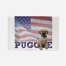 Patriotic Puggle Rectangle Magnet