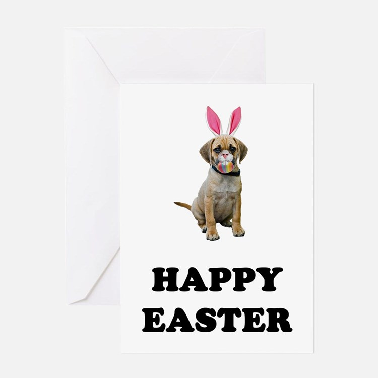 Easter Bunny Puggle Greeting Card