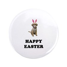 "Easter Bunny Puggle 3.5"" Button"
