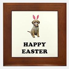 Easter Bunny Puggle Framed Tile