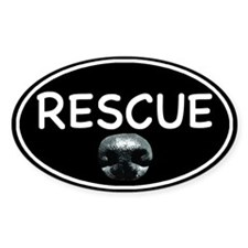 Rescue Nose Black Oval Decal