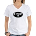 Rescue Nose Black Oval Women's V-Neck T-Shirt