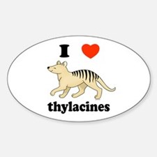 I Love Thylacines Oval Decal