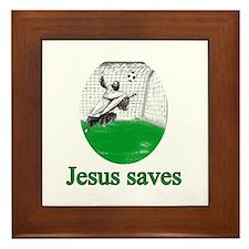 Jesus saves a goal Framed Tile