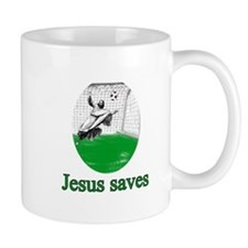 Jesus saves a goal Mug