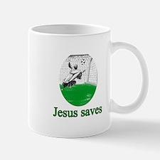 Jesus saves a goal Mug