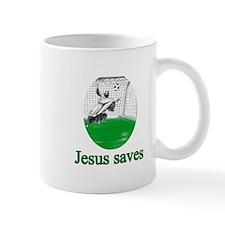 Jesus saves a goal Small Mugs