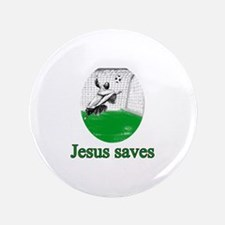 "Jesus saves a goal 3.5"" Button"