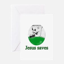Jesus saves a goal Greeting Card