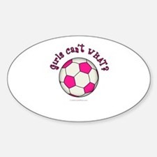 Pink Soccer Ball Sticker (Oval)