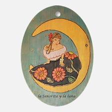 La senorita y la luna. Oval Ornament