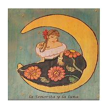 La senorita y la luna. Tile Coaster