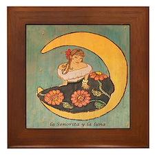 La senorita y la luna. Framed Tile