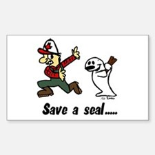 Save a seal, club a Canadian Sticker (Rectangle)