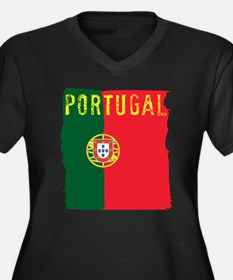 Cute Portuguese flag Women's Plus Size V-Neck Dark T-Shirt