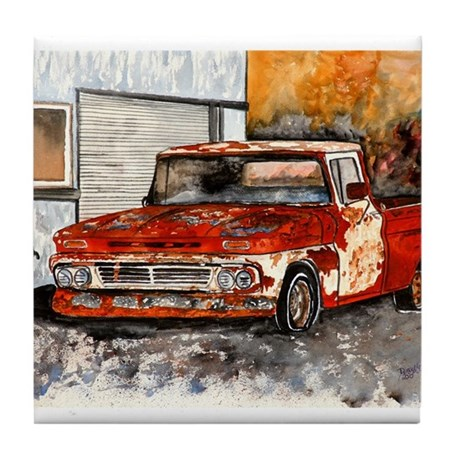 old pickup truck vintage anti Tile Coaster