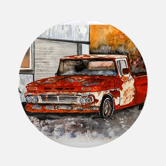 old pickup truck vintage anti Ornament (Round)