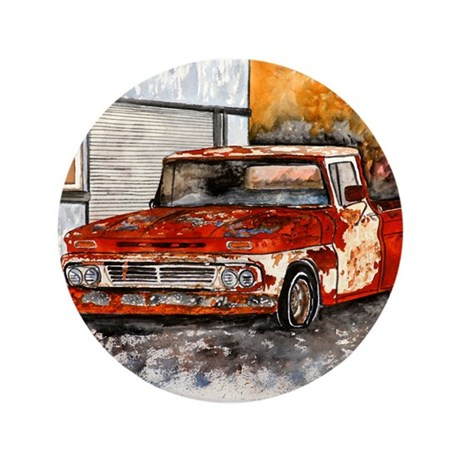"""old pickup truck vintage anti 3.5"""" Button"""