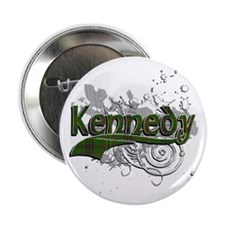 "Kennedy Tartan Grunge 2.25"" Button"