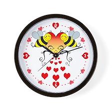 Bumble Bees & Hearts Wall Clock