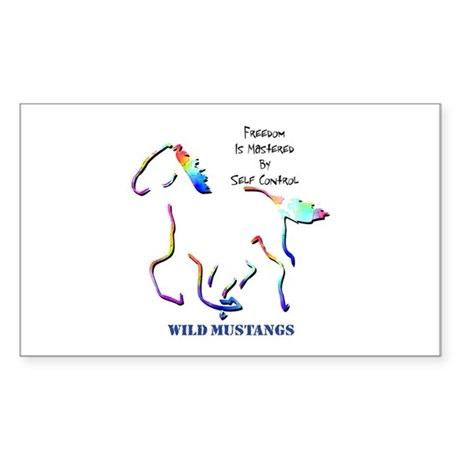 Wild Mustangs Rectangle Sticker