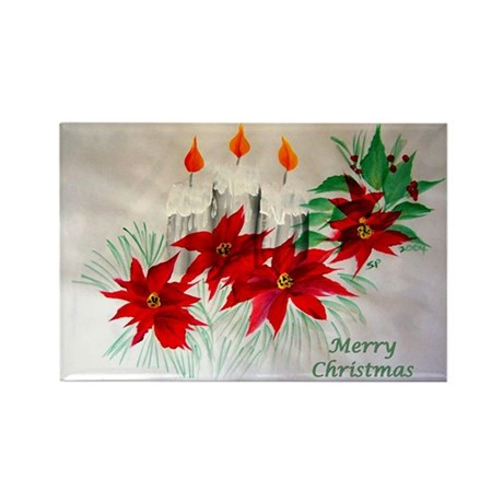 """Candles & Poinsettia"" Rectangle Magnet (100 pack)"