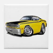 Duster 340 Yellow Car Tile Coaster