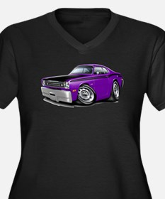 Duster 340 Purple Car Women's Plus Size V-Neck Dar